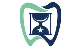 Dental Hourglass Star. Logo Design Template Vector stock illustration