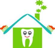 Dental house. Line art funny cartoon image Royalty Free Stock Photos