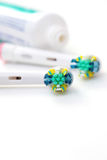 Dental hygiene. Toothpaste and toothbrushes stock photo