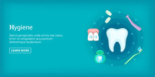 Dental hygiene banner horizontal, cartoon style Royalty Free Stock Photography