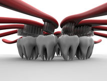 Dental Hygiene concept. 3D rendered illustration for the concept of dental hygiene. The composition makes use of multiple teeth arranged in a pattern and each royalty free illustration