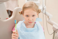 Dental hygiene. Dentist demonstrating tooth brushing Stock Photography