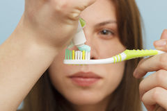 Dental Hygiene - Girl Brushing Teeth Royalty Free Stock Photography