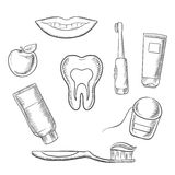 Dental hygiene medical icons in sketch style Stock Photography