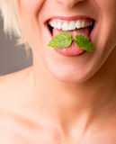 Dental hygiene. Mint leaves on toothy smile stock image