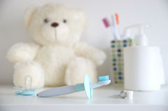 Dental hygiene products for children care. Stock Images