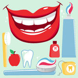 Dental hygiene vector set. Vector illustration set of dental hygiene objects: toothbrush, toothpaste, dental floss, mouth wash, tooth, bitten apple and a stock illustration