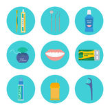 Dental hygiene vector set. Dental hygiene and tooth health care icon set: brush and toothpaste, dental check-up tools, mouthwash, floss, mouth, gum, breath Stock Photo