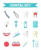 Dental icon set, flat style. Stomatology kit  on white background.Dentistry collection of design elements Stock Photography