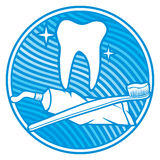 Dental icon. Dental symbol - tooth, toothbrush and toothpaste Royalty Free Stock Image