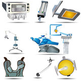 Dental icons. Set of eight dental icons, vector illustration Stock Image