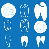Dental icons. Dental white blue icons stomatology Stock Photo