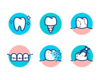Dental-icons copy. Health Dent Icon pack design vector flat line style. Cosmetic dental dentistry. Dental surgery. Health teeth care. Braces medicine. Oral Royalty Free Stock Photos