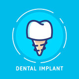 Dental-icons copy. Health Dent Logo design vector template flat line style. Dental implant illustration. Dental clinic Logotype concept icon. Health tooth in a Royalty Free Stock Photography