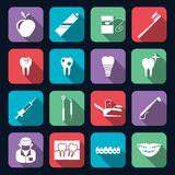 Dental Icons Flat. Dental teeth healthcare instruments dent protection flat icons set isolated vector illustration Stock Images