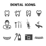 Dental icons. Mono vector symbols Royalty Free Stock Photos