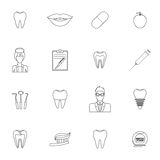 Dental icons outline Stock Photos