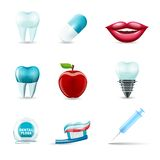 Dental icons realistic. Dental health and caries teeth healthcare instruments dent protection realistic icons set  vector illustration Royalty Free Stock Photos