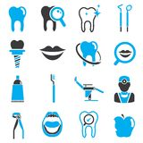 Dental icons. Set of 16 dental care icons with black and blue color theme stock illustration