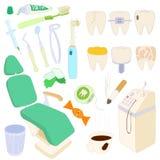 Dental icons set, cartoon style Stock Photography