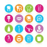 Dental icons. Set of 16 dental icons in colorful buttons royalty free illustration