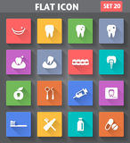 Dental Icons set in flat style with long shadows. Royalty Free Stock Photography