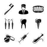 Dental icons set with - tooth, jaw, toothbrush Stock Photos