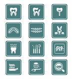 Dental icons TEAL series Royalty Free Stock Photo