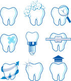 Dental icons vector. Dental icons designs isolated on white background, vector format very easy to edit, individual objects, no gradients, only solid colors Royalty Free Stock Images