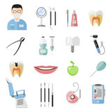Dental icons vector set. Royalty Free Stock Photo