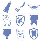 Dental icons for websait. Simple dental icons. blue dental signs Royalty Free Stock Photo