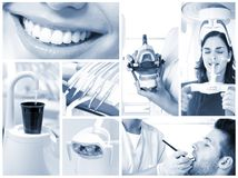 Dental image mosaic. Image mosaic of dental photos in hightech dentist`s surgery Stock Image