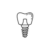 Dental implant line icon. Dental and medicine, vector graphics, a linear pattern on a white background, eps 10 Royalty Free Illustration