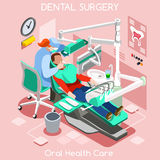 Dental implant teeth hygiene and whitening oral surgery center dentist and patient. stock illustration