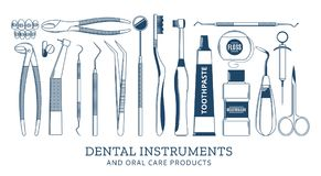 Dental instrument icons Stock Photo