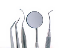 Dental Instruments. Close-up Dental Instruments, isolated on white, dental mirror Stock Images