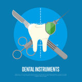 Dental instruments banner with syringe and scalpel. Dental instruments banner with crosswise syringe and scalpel on blue background. Dentistry  vector Stock Photo