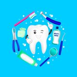 Dental instruments with cartoon tooth in circle shape. Dental care concept.  Illustration isolated on blue background. Great for greeting card, poster and Royalty Free Stock Photo