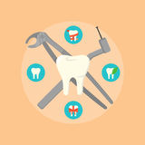 Dental instruments crosswise on color background. Dental instruments crosswise on orange background with round teeth icons. Dentistry isolated vector Royalty Free Stock Photography