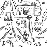 Dental instruments and equipment seamless. Hand drawing Royalty Free Stock Photo