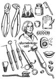 Dental instruments and equipment. Set Royalty Free Stock Photography