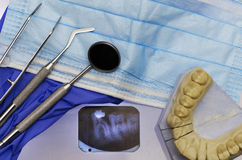 Dental instruments and x ray Stock Photos