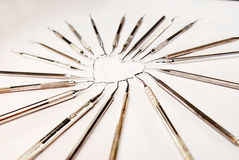 Dental instruments in heart shape Royalty Free Stock Image
