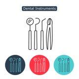 Dental instruments icon. Dental instruments line icon. Set of dental equipment monochrome icons, design elements isolated on white background. Medicine symbol Stock Photos