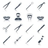 Dental instruments icons set black. With health care stomatology accessory isolated vector illustration Royalty Free Stock Image