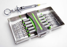 Dental instruments. Set of dental instruments,details stock image