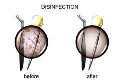 Dental instruments before and after sterilization. Vector illustration of dental tools before and after sterilization Royalty Free Stock Photo