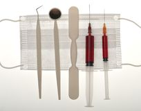 dental instruments and syringes Royalty Free Stock Photos
