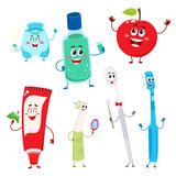 Dental instruments and teeth hygiene items as funny characters Royalty Free Stock Image