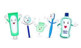 Dental instruments and teeth hygiene items. Funny characters, cartoon  illustration isolated on white background. Toothpaste, mirror,  dental floss, toothbrush Royalty Free Stock Photos
